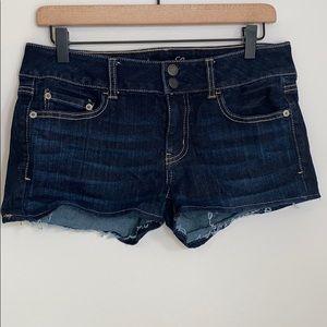 American Eagle Outfitters dark wash denim shorts-8